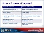 steps in assuming command