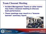 team closeout meeting