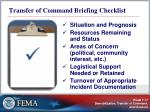 transfer of command briefing checklist