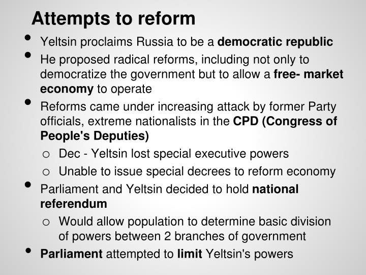 Attempts to reform