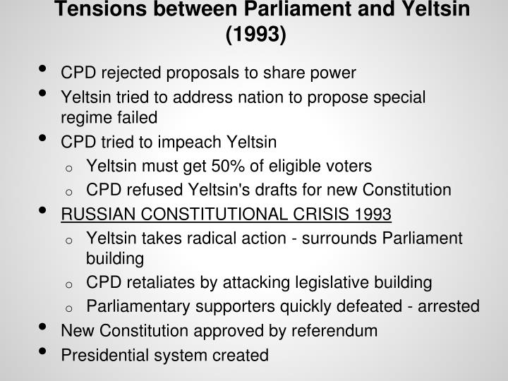Tensions between Parliament and Yeltsin (1993)