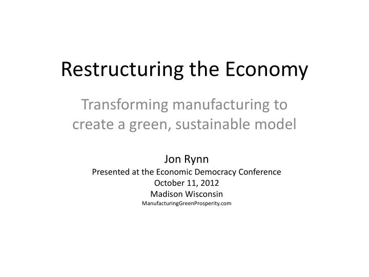 restructuring the economy n.