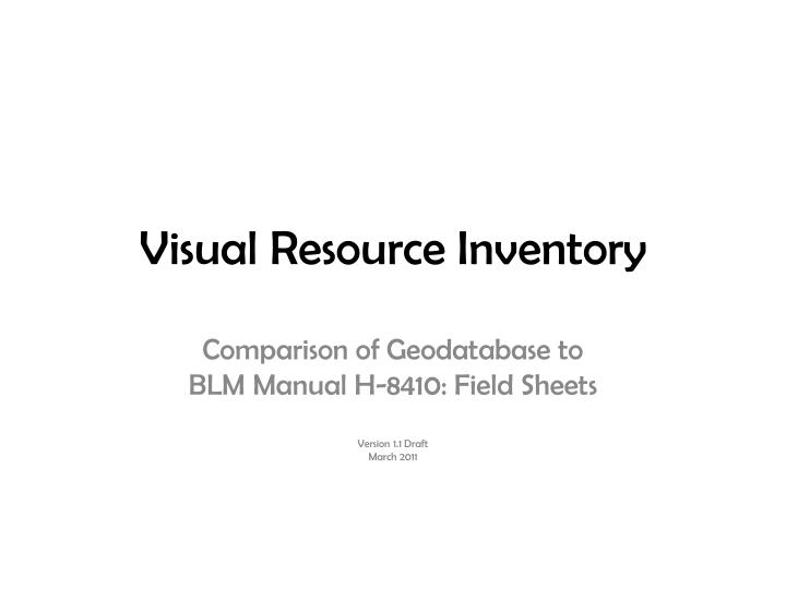 visual resource inventory n.