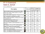 fy 11 scorecard goal vs actual as of 31 january 20111