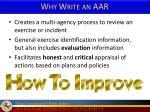 why write an aar