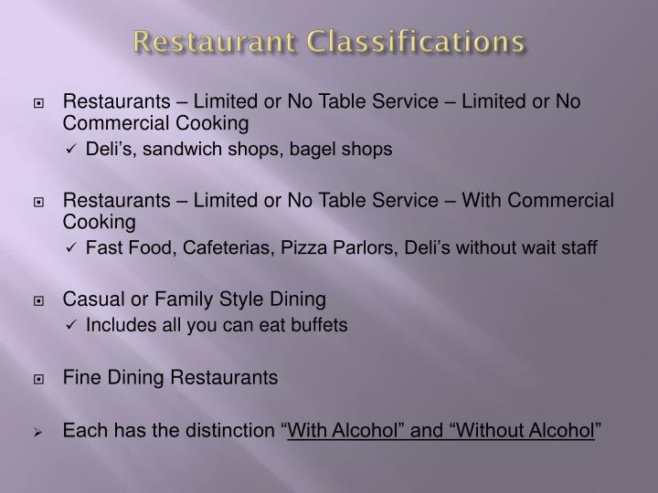 restaurant classifications n.