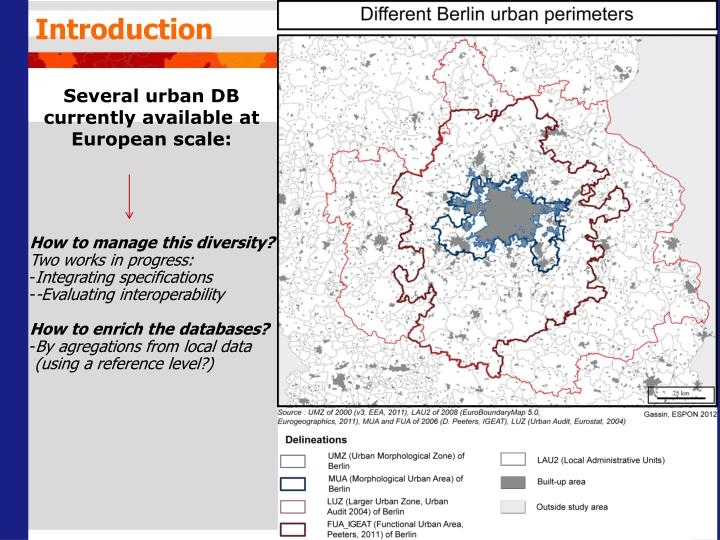 Several urban db currently available at european scale