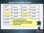 sales to cover costs