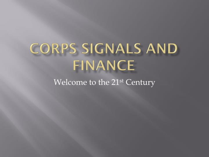 corps signals and finance n.