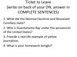 ticket to leave write on back of your dn answer in complete sentences