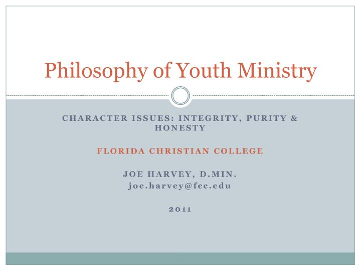 philosophy of youth ministry n.