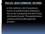 mailed questionnaire methods