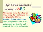 high school success is as easy as a b c