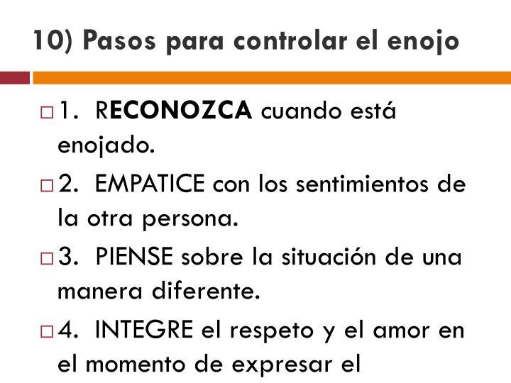 10) Pasos para controlar el enojo