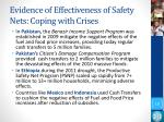 evidence of effectiveness of safety nets coping with crises