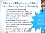 evidence of effectiveness of safety nets reducing poverty inequality