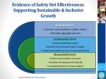 evidence of safety net effectiveness supporting sustainable inclusive growth