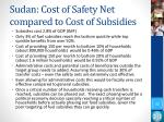 sudan cost of safety net compared to cost of subsidies