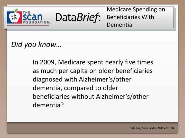 medicare spending on beneficiaries with dementia n.