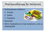 pharmacotherapy for dementia