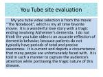 you tube site evaluation