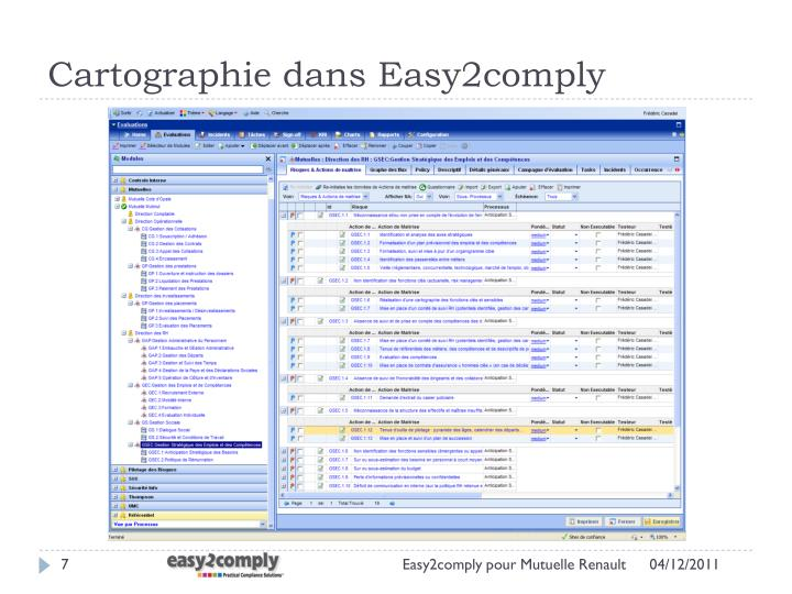 Cartographie dans Easy2comply