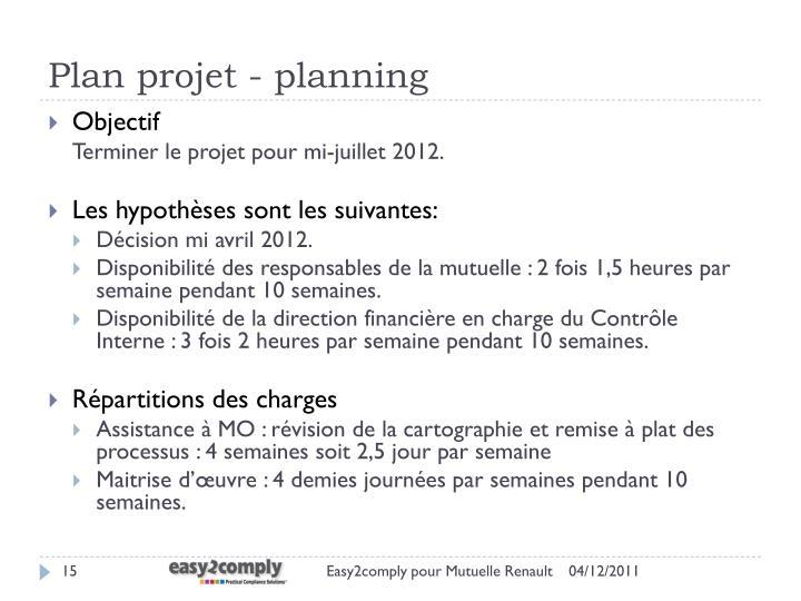 Plan projet - planning