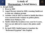 a study of mormonism a brief history