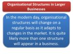 organisational structures in larger businesses