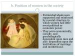 b position of women in the society