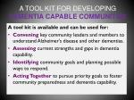 a tool kit for developing dementia capable communities