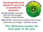 god changed the yearly calendar to cause israel to remember his deliverance