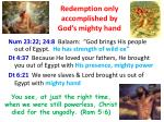 redemption only accomplished by god s mighty hand