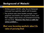 background of malachi