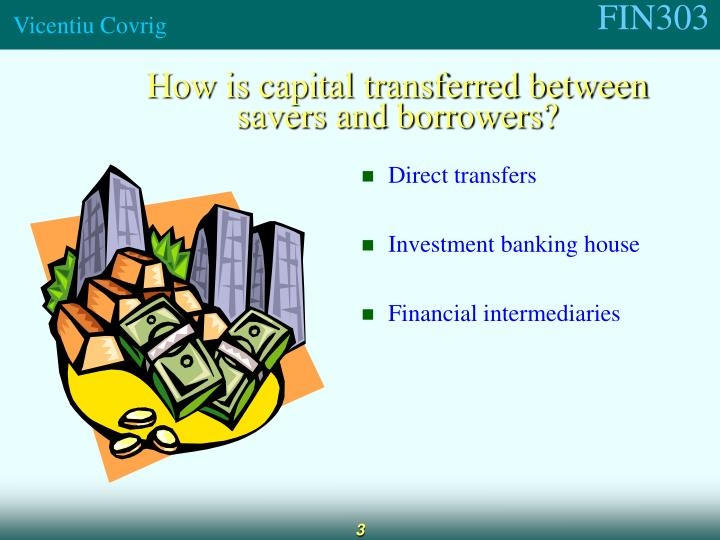 How is capital transferred between savers and borrowers?