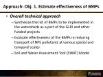 approach obj 1 estimate effectiveness of bmps