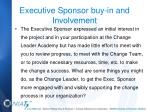 executive sponsor buy in and involvement