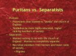 puritans vs separatists