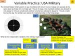 variable practice usa military