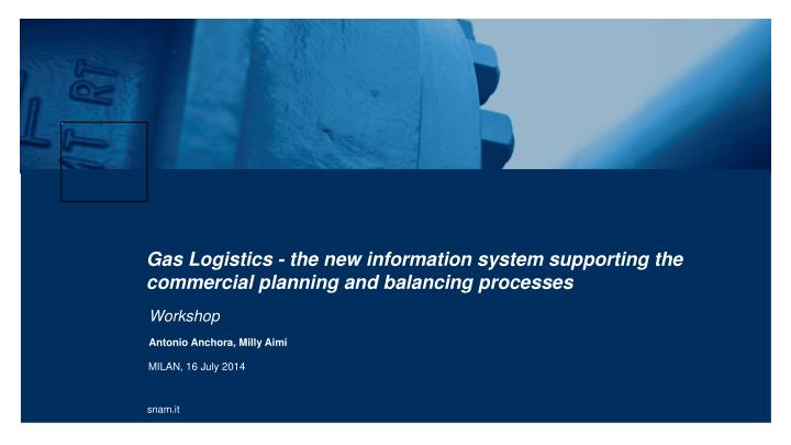 gas logistics the new information system supporting the commercial planning and balancing processes n.