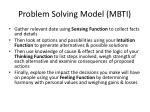 problem solving model mbti