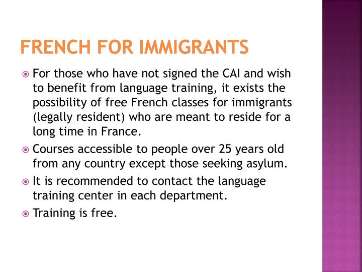 French for immigrants