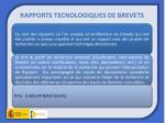 rapports tecnologiques de brevets