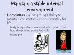 maintain a stable internal environment