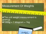 measurement of weights