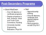 post secondary programs