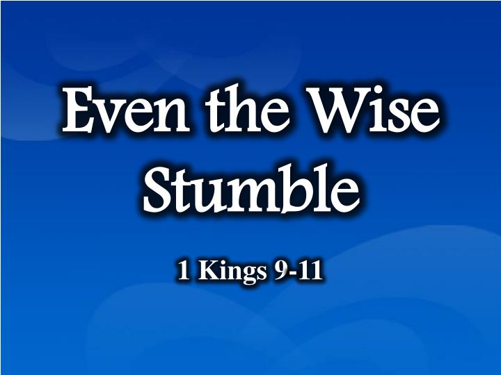 even the wise stumble n.