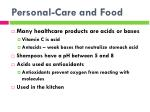 personal care and food