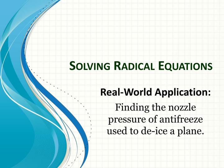 solving radical equations n.