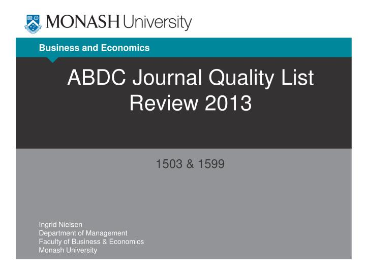 abdc journal quality list review 2013 n.